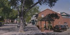 """Main Street Pleasanton"" original oil 36x18 by Modesto California artist Tyler Abshier. This stunning piece just sold February 27th and has found its forever home!"