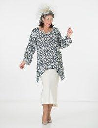 Plus size Box 2 black/cream crepe print round neck top and skirt