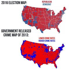 Republicans are obviously more tolerant and less prone to crime than Democrats!// Liberal democrats are destroying America. Can't we just divide America up into 2 countries. One side for Liberals and one side for Conservatives. Meryl Streep, Election Map, 2016 Election, Conservative Memes, Conservative Republican, Crime Rate, Liberal Logic, Election Results, Reading