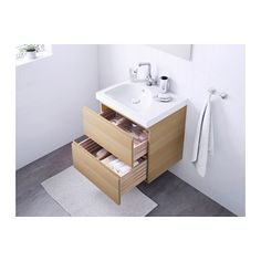 GODMORGON / EDEBOVIKEN Meuble lavabo 2tir - effet chêne blanchi - IKEA