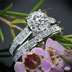 Custom Channel-Set Diamond Engagement Ring and Matching Diamond Wedding Ring. Kind of what mine looks like but with a smaller princess cut diamond in the center Engagement Rings Channel Set, Engagement Wedding Ring Sets, Diamond Wedding Rings, Engagement Ring Settings, Bridal Rings, Diamond Rings, Diamond Engagement Rings, Solitaire Diamond, Diamond Jewelry