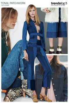 Women's denim introduces a 70's mood with striking patchwork prints, executed in tonal denim blue shades. Clean lines enhance simple cuts, as seen in the form of cropped culottes and flared jeans. Meanwhile, more casual DIY looks can be created with pieced-together materials and raw edgings. Double-denim coordinations make a contemporary statement when formal jackets are styled with jeans.