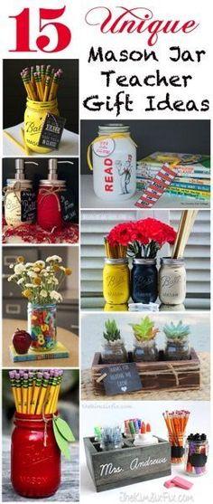 15 Unique Mason Jar Teacher Gifts via www.TheKimSixFix.com