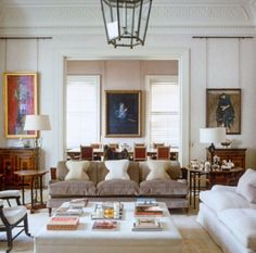 White couches and ottoman would be tough to have in our household, but this is still very pretty.  Veere Grenney