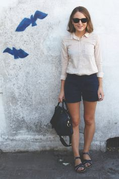Ray-Ban sunglasses, steven alan shirt, a.c shorts, saltwater sandals, sofia coppola for louis vuitton handbag Casual Summer Outfits, Holiday Outfits, Outfit Summer, Classic Outfits, Scandinavian Fashion, Dressing, Sandals Outfit, Summer Looks, Spring Summer Fashion
