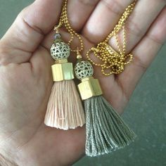Chunky GreyTassel Pendant Necklace,Brass Pendant w Gold Ball Chain, Vintage Beads Necklace on Etsy, $21.00