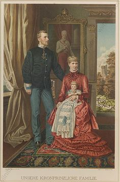 Lithograph showing Rudolph, Crown Prince of Austria, his wife Princess Stephanie of Belgium, and their daughter Archduchess Elisabeth.