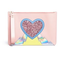 Sophie Hulme 'Talbot' glitter heart saddle leather pouch (€425) ❤ liked on Polyvore featuring bags, handbags, clutches, pink, holographic pouch, color block leather handbags, glitter handbags, color block purses and genuine leather purse