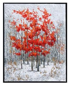 Winter Flame 4″ Art Quilt by Lorraine Roy