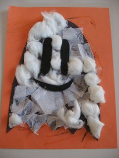 Easy Halloween Craft For Kids *Construction paper (Orange & Black) *Elmers or other white glue *white tissue paper *cotton balls *scissors *a adult to help with cutting the ghost & face out