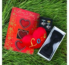 Black Bow Tie with Love Card and Soft Heart including Silver Beads Cufflink