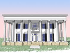 Plan 44042TD: Classic Greek Revival With Fly By