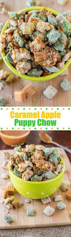 Caramel Apple Puppy Chow- all the flavors you love from a caramel apple in this puppy chow snack! Caramel Apple Puppy Chow- all the flavors you love from a caramel apple in this puppy chow snack! Caramel Apple Puppy Chow- all the flav Puppy Chow Snack, Puppy Chow Recipes, Chex Mix Recipes, Fudge Recipes, Apple Recipes, Snack Recipes, Dessert Recipes, Oreo Dessert, Mini Desserts
