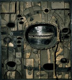 Sculpture by Lee Bontecou, 1961. Welded steel, canvas, wire, and rope, 72 5/8 × 66 × 25 7/16 in. at Whitney Museum of American Art, NY