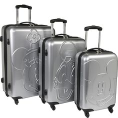 Disney Collection By Heys USA Mickey & Friends Embossed Face 3 Piece Spinner Set - eBags.com