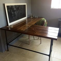 desk the for shaped pin office pinterest rustic l