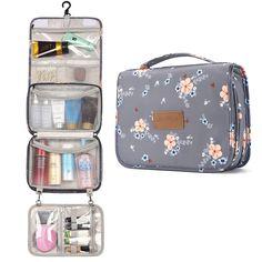 Toiletry Bag for Women, Large Hanging Travel Makeup Bag Water-Resistant for Toiletries/Cosmetics/Brushes - Gray Vextr. Large Toiletry Bag, Travel Toiletry Bag, Travel Bags For Women, Waterproof Makeup, Travel Toiletries, It Cosmetics Brushes, Travel Makeup, Large Bags, Organizer
