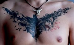 Cool Chest Batman Tattoos for Men..... You know, like a dude tramp stamp. LOL!