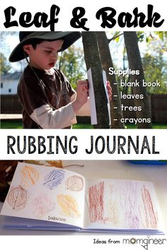 Nature Activitiy for Kids: Leaf and Bark Rubbing Journal Leaf and bark rubbing journal - nature art and hands-on science Forest School Activities, Nature Activities, Outdoor Activities For Kids, Outdoor Learning, Science Activities, Outdoor Play, Summer Activities, Camping Activities, Preschool Science