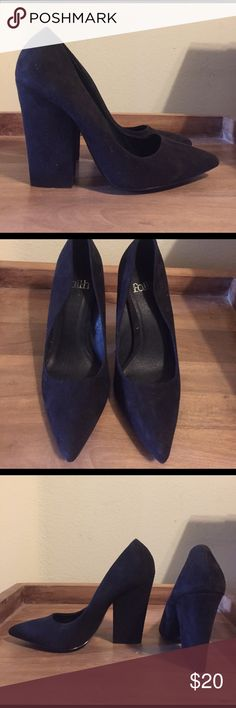Black Suede Heels Black faux suede heels that are an exact copy of the Celine style. Never been worn. Very comfortable and cute! Your friends will never know the difference between these and the real celine style. US size 6. Celine Shoes Heels