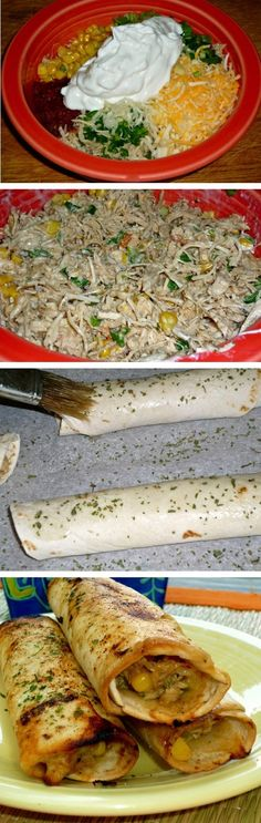 Crispy Chicken Tortilla Rollups--Brushed with garlic & cilantro oil and baked to a crisp. The creamy chicken filling is delish!- use lo carb wraps, veggie cheese and Greek yogurt Mexican Food Recipes, New Recipes, Dinner Recipes, Cooking Recipes, Favorite Recipes, Recipies, Mexican Meals, Mexican Dishes, Think Food