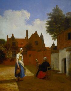 A Courtyard in Delft at Evening: a Woman Spinning | Royal Collection Trust  Pieter de Hooch, 1656-57