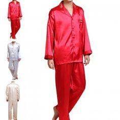 New Men Spring Faux Silk Sleepwear Pajamas Set Nightwear Homewear Tops  +Pants b360cc788