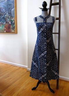 1970s Mod Boho Hippie Maxi Dress Cut Out Collar by TooArtfulForYou