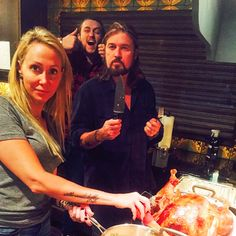 Thanksgiving 2014: Miley Cyrus: Someone's in the kitchen with Miley! Dad Billy Ray, mom Tish and bro Braison pose for a family portrait while prepping dinner.