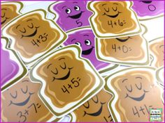 Peanut butter and jelly addition!   Use Dollar Tree cutouts to make this addition game!   Check out this post for a freebie!