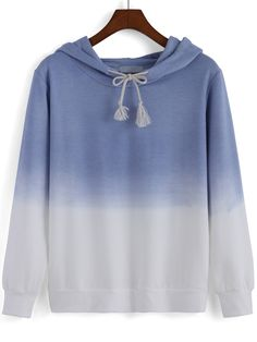 Hooded Drawstring Ombre Sweatshirt