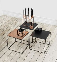 Twin tables and the Kubus Collection in copper from Danish brand Lassen