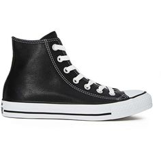 Converse All Star High-Top Sneaker ($70) ❤ liked on Polyvore featuring shoes, sneakers, converse, sapatos, black, black leather, black shoes, black leather high tops, black leather shoes and black high top sneakers