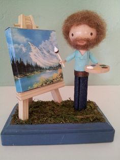 Bob Ross Clothespin Doll by LittleBun. Time to paint some happy little trees!