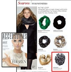 La Fiorentina Nicoletta Rex Rabbit Infinity Muffler ~ as seen in Accessories Magazine!!! Shop now at www.lafiorentina.com <3