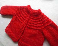 hand knit RED baby cardigan/ jumper/ sweater   36 by MadeWise, $40.00