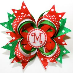 """4"""" Personalized Christmas Holiday Polka Dots Red Green White Stacked Hair Bow"""