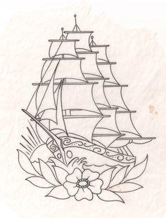 Tattoos Ideas tattoo traditional ship colour for 2019 Traditional Tattoo Models, Traditional Ship Tattoo, Traditional Tattoo Sketches, Traditional Nautical Tattoo, Flash Art Tattoos, Desenhos Old School, Tattoo Old School, Tattoo Minimaliste, Beginner Tattoos