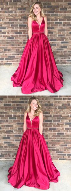 Red Simple Satin Fashion Modest Popular Prom Dresses, A-Line V-Neck Free Custom Prom gown, PD0699 #sposabridal