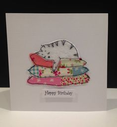 A set of three handmade embroidery cards Birthday cards. 3 different designs made … - embroidery Embroidery Cards, Free Motion Embroidery, Free Motion Quilting, Embroidery Applique, Fabric Cards, Fabric Postcards, Paper Cards, Textiles, Patchwork Cards