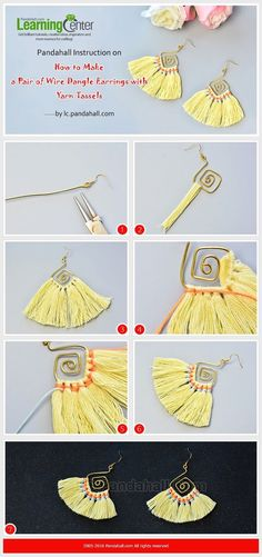 Pandahall Instruction on How to Make a Pair of Wire Dangle Earrings with Yarn Tassels from LC.Pandahall.com Bisuteria Acceda a nuestro sitio Mucho más información http://storelatina.com/ #Енгагемент #Angajman #انگ #bag