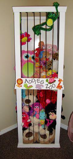 Stuffed animal storage.  LOVE this idea