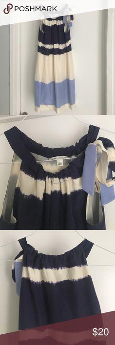 Banana Republic Dress - So cute! Adorable banana republic dress. Size 2. Cream with blue and purple striping. Tie close at the neckline. Great condition! Banana Republic Dresses Mini