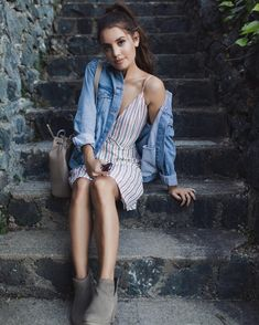 styles her striped alida dress with a denim jacket Via revole Style Outfits, Cute Outfits, Coco Chanel, Spring Summer Fashion, Spring Outfits, Christine Fashion, Vogue, Trends, Outfit Goals
