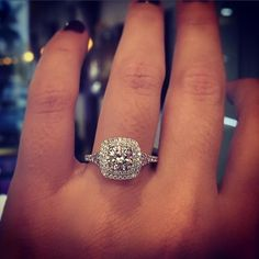 Double Halo Cushion shaped engagement ring