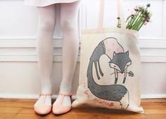 Cotton Tote bag - Mrs Fox in her pink sweater / Tote bag en coton - Mme Renard / Sac en toile 100% naturel