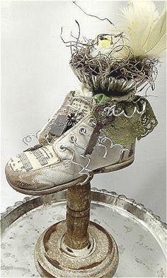 Repurposed Vintage Baby Shoe Altered Bird Nest Worn leather   Etsy