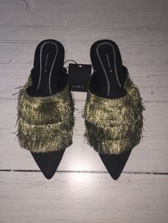 f98aab5a81b New Zara Basic Women s Fringe Mules Slides Size Eur 36 US 6 New Without  Tags Smoke Free Environment If you have any questions please feel free to  contact me ...