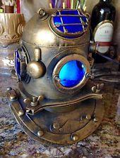 "Replica Mark V Divers Helmet Nautical Lamp Tiki Bar Decor ""Ghostly Blue"" Version"