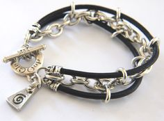 Mens Bracelet Leather heavy Sterling Silver Chain. $224.00, via Etsy.